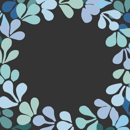 Pastel blue floral wreath vector frame on black background