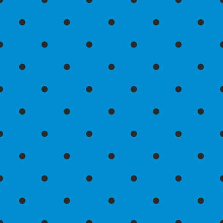 Seamless vector pattern with cute tile black polka dots on pastel blue background