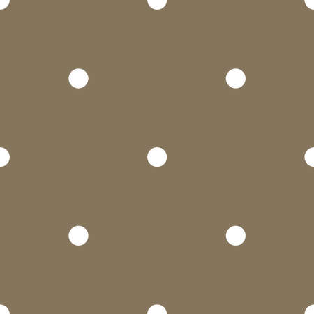 Polka dots on brown background retro seamless vector pattern