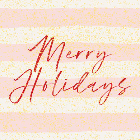 Merry Holidays vector card with pink and white stripes, golden dust decoration background