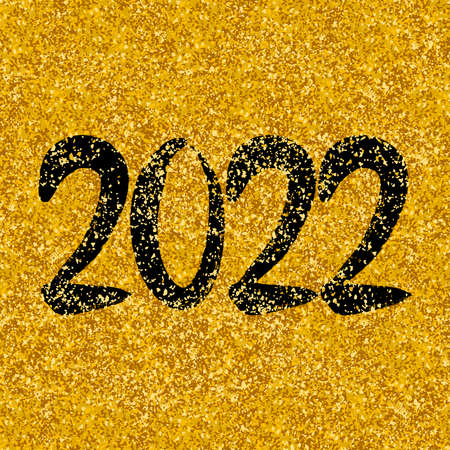 2022 new year on golden background vector illustration