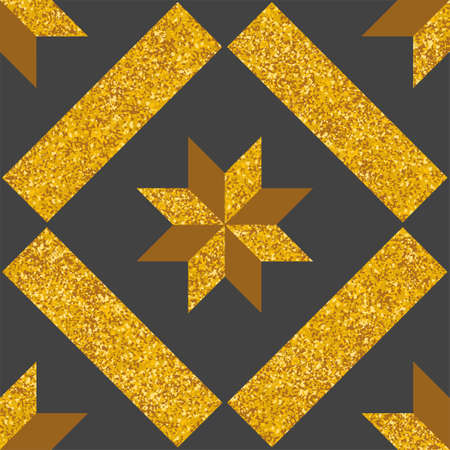 Tile decorative floor gold and dark grey tiles vector pattern or seamless background Ilustracja