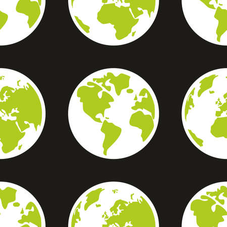 Tile vector pattern with planet earth on black background for seamless wallpaper