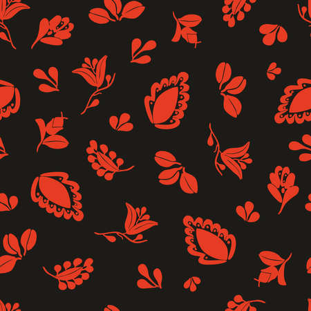 Tile vector pattern with seamless red floral print on black background Ilustracja
