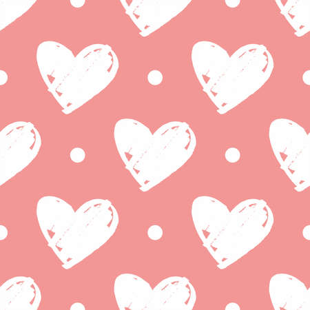 Pink vector background with hearts and polka dots. Cute seamless pattern for valentines desktop wallpaper or lovely website design