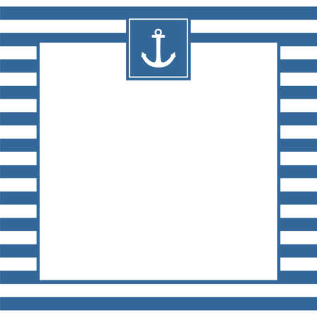 Nautical vector card or invitation with anchor, pastel background and blue white stripes with empty white copy space