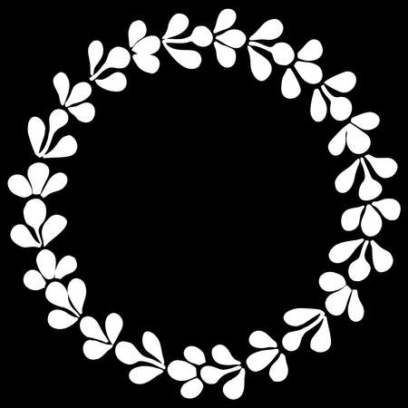 White laurel vector floral wreath frame on black background