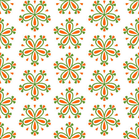 Tile green, white and orange seamless vector floral background for decoration or wallpaper or backgrounds, blogs, www, scrapbooks, party or baby shower invitations and elegant wedding cards