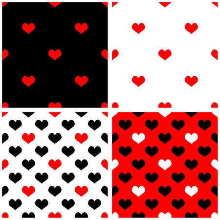 Seamless vector red, black, white background set with hearts Full of love tile pattern