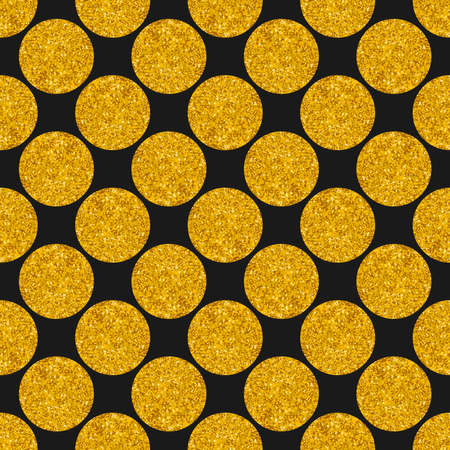 Tile vector pattern with big golden polka dots on black background for seamless decoration wallpaper