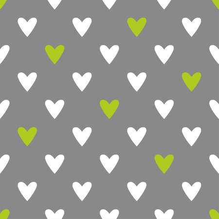 Tile vector pattern with white and green hearts on grey background Ilustracja