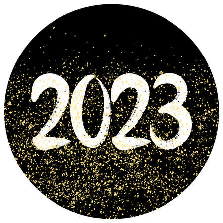 2023 vector sign with golden dust on black background