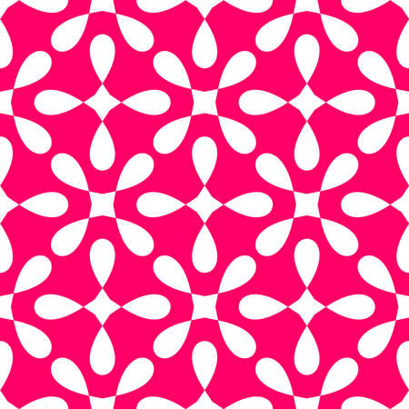 Seamless white and pink vector pattern with decorative tile print on pink background Ilustracja
