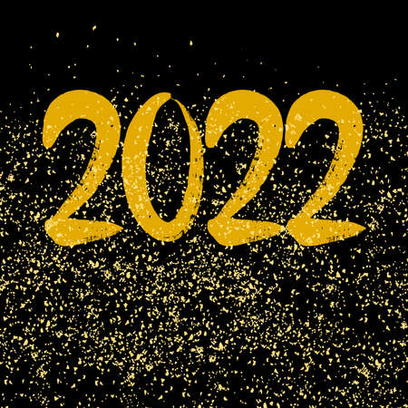 2022 sign with golden vector dust on black background