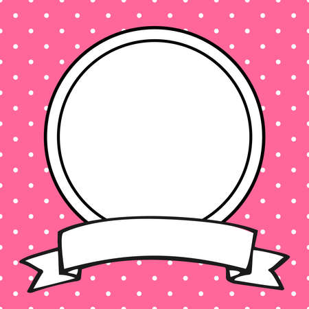 Vector photo frame on polka dots pink background Ilustracja