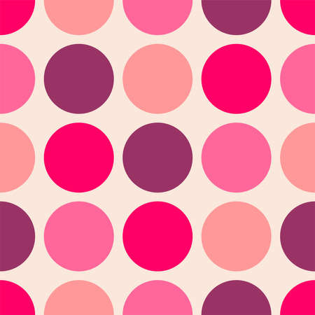 Tile vector pattern with beige, violet and pink polka dots on pastel pink background Ilustracja