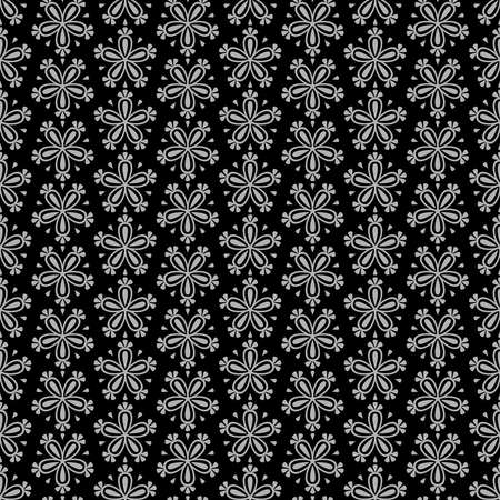 Abstract seamless floral vector pattern with grey flowers on black background