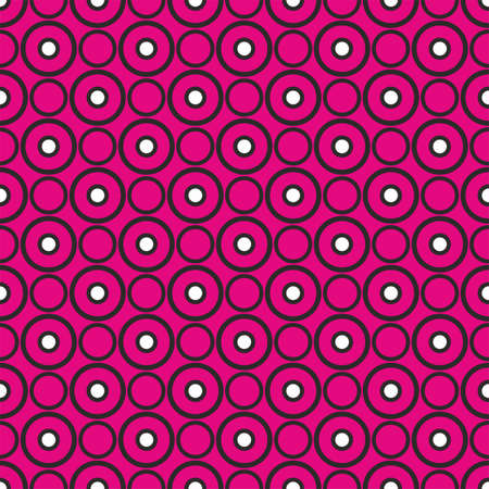 Black and white dots on pink background retro seamless vector pattern