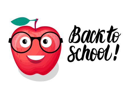 Back to school lettering and illustration. Vector Character red Apple with glasses isolated on white background. Foto de archivo - 104081372
