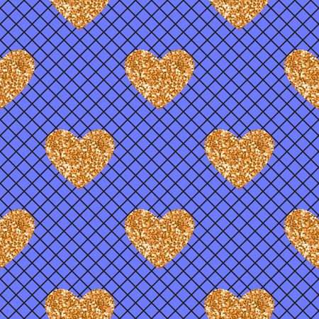 Vector Abstract seamless blue pattern with black fishnet tights and gold glitter heart.