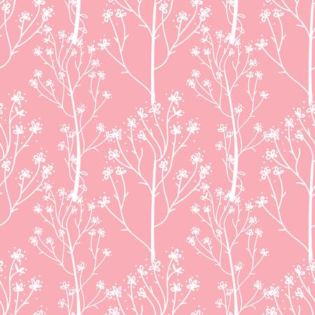 Vector White hand drawn flower sprigs. Cute wedding pink trend seamless pattern.