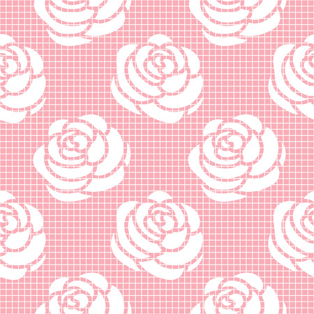 Vector Cage with Rose trend pink color seamless pattern.