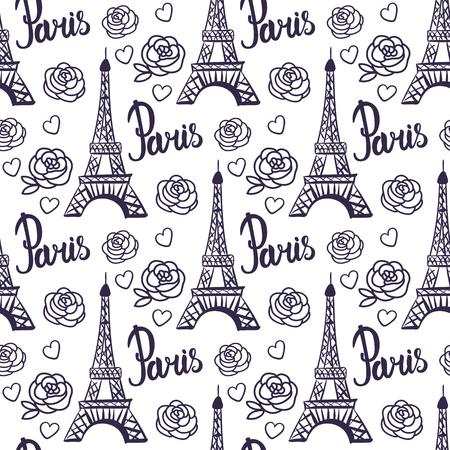 Vector Seamless pattern Paris black ink Eiffel Tower.