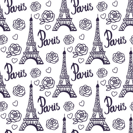 Vector Seamless pattern Paris black ink Eiffel Tower.