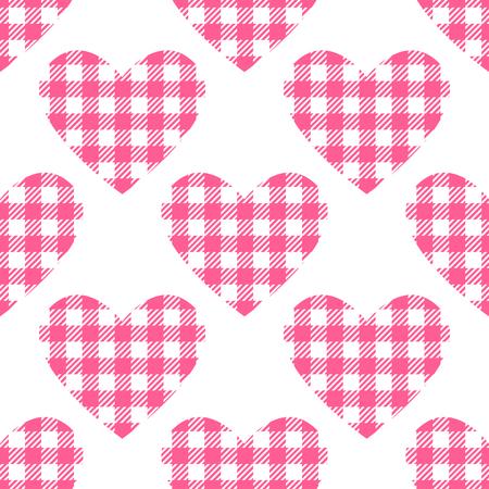 Checkered hearts Seamless pattern.
