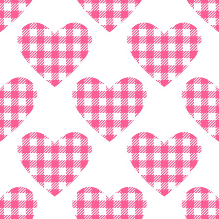 Checkered hearts Seamless pattern.