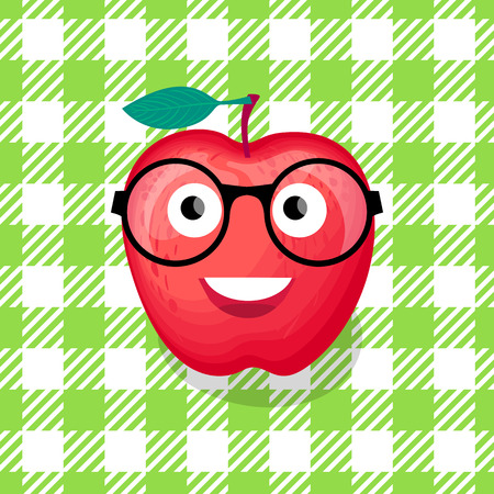 Back to school illustration. Vector Character red Apple with glasses. Foto de archivo - 104081437