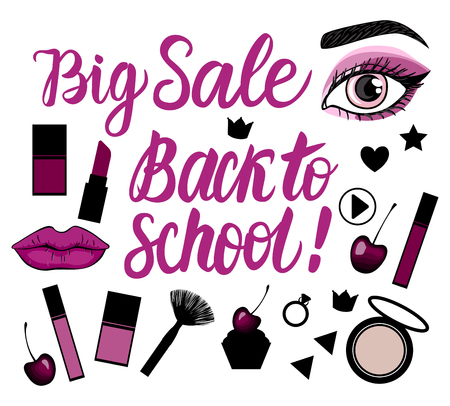 Vector Big set Sale Back to school Lettering inscription.