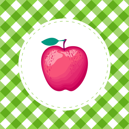 Vector Apple red color on cell green seamless pattern background.