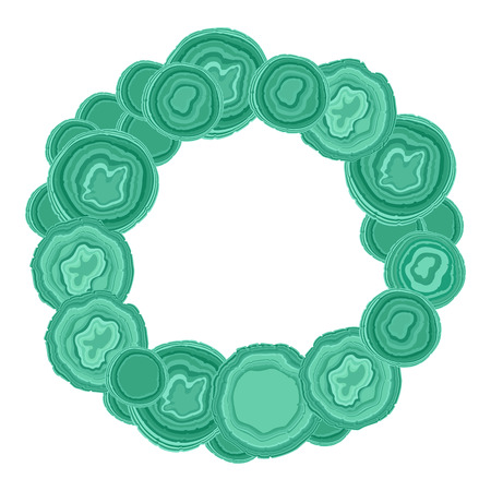 Agate Green Stone Frame round Vector illustration.