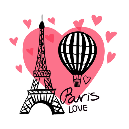 Vector hand draw Air Balloon and Paris Eiffel Tower isolated on pink heart Zdjęcie Seryjne - 104081481