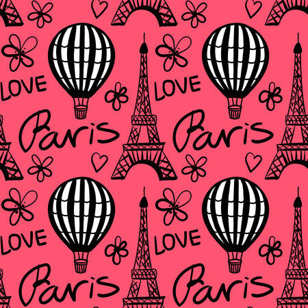 Vector Seamless Pattern Balloon and Paris Eiffel Tower on red