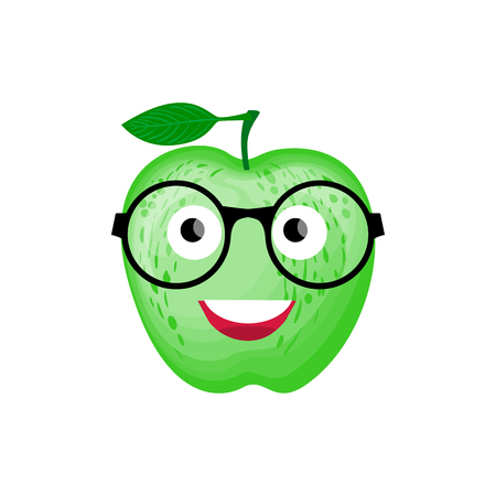 Back to school illustration. Vector Character green Apple with glasses smiling. Stock Illustratie
