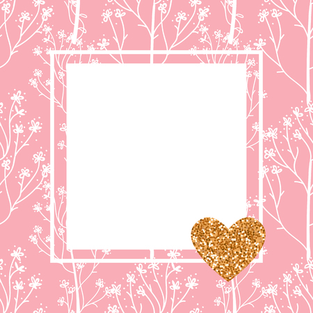 Vector pink card. Hand drawing of cute wild flowers and a square frame.