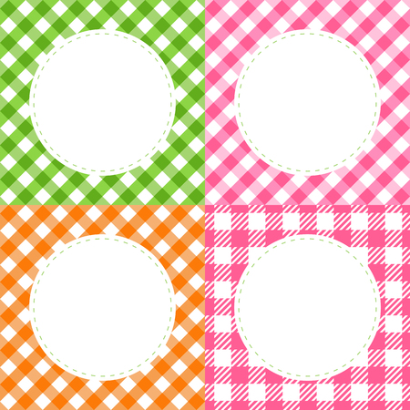 Vector Set of checkered cell of Vichy multi colored summer cards with a round frame.