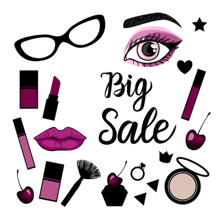 Big Sale. Fashion banner with a set of illustrations make up sign. Vector illustration isolated on white background. Vettoriali