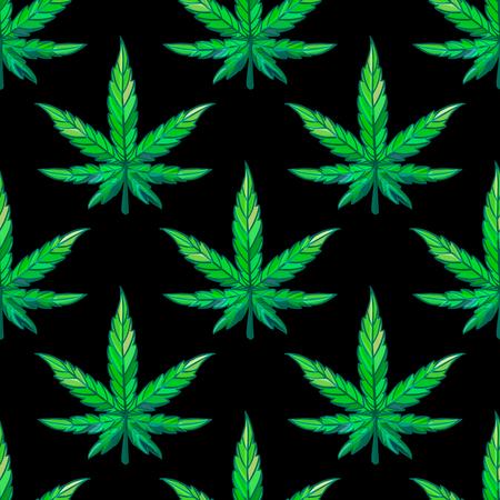 Vector Seamless pattern green sheet of cannabis on dark background