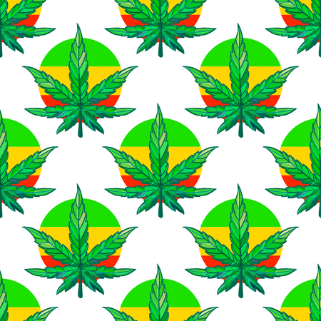Vector Seamless pattern sheet of cannabis with Bright rasta color. Illustration