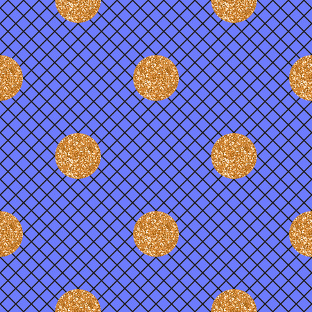 Vector Abstract seamless blue pattern with black mesh fishnet tights. and gold glitter polka dot.