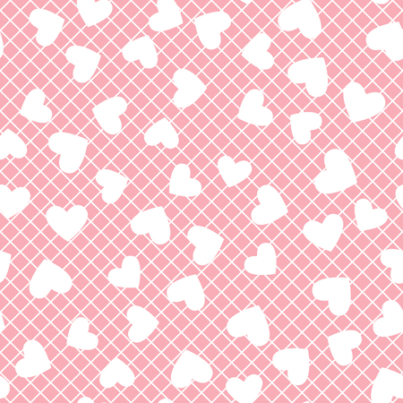 Vector Heart silhouette. Pink seamless pattern mesh pink trend color texture.