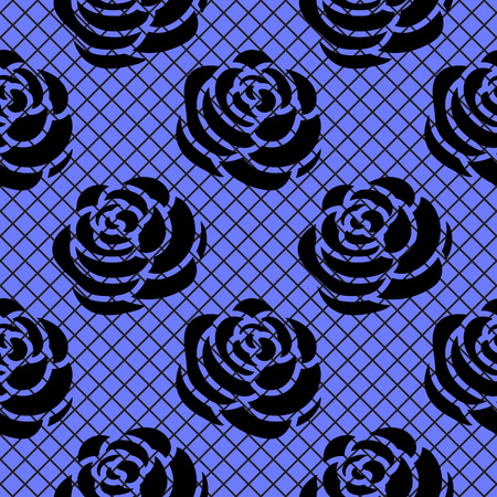 Vector black Roses silhouette on a diagonal grid. Seamless fashion pattern.