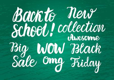 Vector Set Back to school Sale on green chalkboard wide background