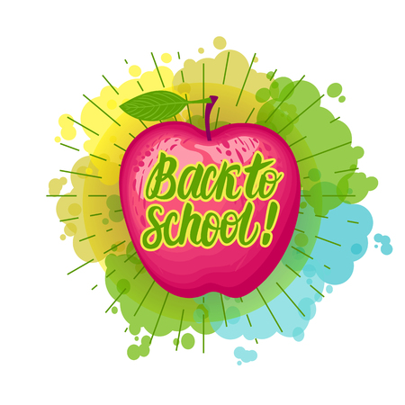 Vector Red apple with an inscription Back to school