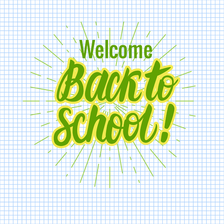 Vector card Back to school lettering. Round icon on a checkered paper background. Childrens design.