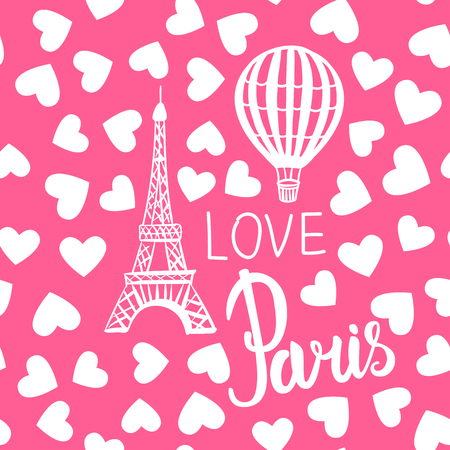 Vector Seamless Pattern Balloon and Paris Eiffel Tower