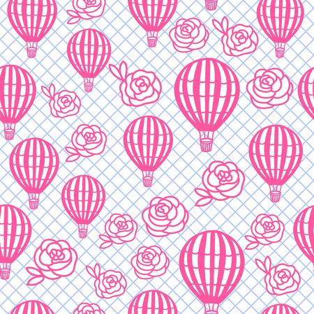 Vector Seamless Pattern Hot Air Balloon